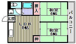 コーポ西取石[2階]の間取り