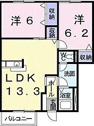山口県下関市汐入町の賃貸アパートの間取り