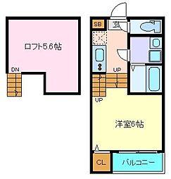 JR東北本線 南仙台駅 徒歩8分の賃貸アパート 1階1Kの間取り