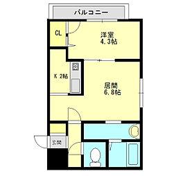 北海道札幌市白石区本通17丁目の賃貸マンションの間取り