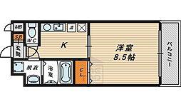 アリエス 4階1Kの間取り