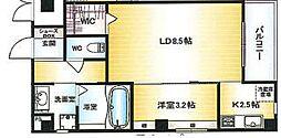 Osaka Metro千日前線 北巽駅 徒歩15分の賃貸マンション 3階1LDKの間取り