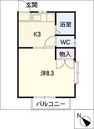 シングル鍵田B棟[1階]の間取り