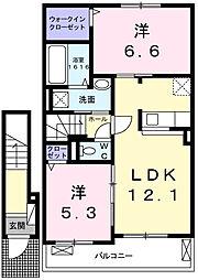 兵庫県姫路市仁豊野の賃貸アパートの間取り
