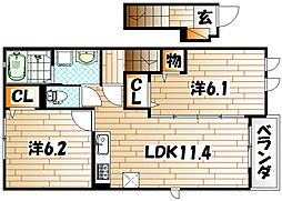 レジデンス恵里[2階]の間取り