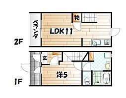 猫共生賃貸ウィズキャット三萩野[2号室]の間取り