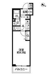 東急東横線 学芸大学駅 徒歩10分の賃貸マンション 2階1Kの間取り