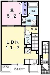 ニューアメニティー太子 2階1LDKの間取り