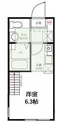 神奈川県横浜市鶴見区寺谷1丁目の賃貸アパートの間取り