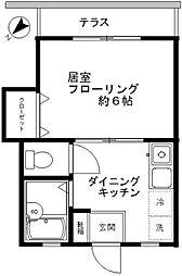 東京都世田谷区野沢1丁目の賃貸アパートの間取り