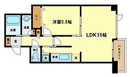 ベルファース大阪新町[6階]の間取り