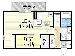 阪急宝塚本線 庄内駅 徒歩19分の賃貸アパート 1階1LDKの間取り