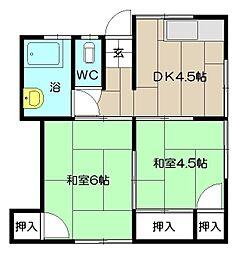 ジョイフル寿荘[202号室]の間取り