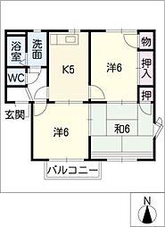 オークスN A棟[1階]の間取り
