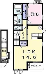 兵庫県姫路市飾磨区英賀東町2丁目の賃貸アパートの間取り