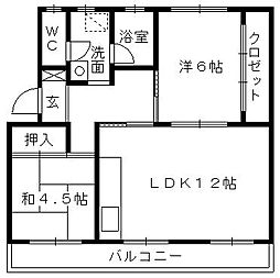 第一パークサイドマンション[303号室]の間取り