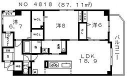 D`s(ディーズ)ハウス上九[601号室号室]の間取り