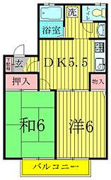 メゾン松本D[203号室]の間取り