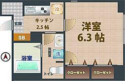 JR総武線 東中野駅 徒歩12分の賃貸マンション 1階1Kの間取り