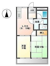 エスポワールオクダI[1階]の間取り