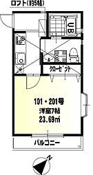 神奈川県藤沢市鵠沼海岸6丁目の賃貸アパートの間取り