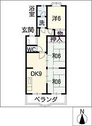 第1レオン光園[1階]の間取り
