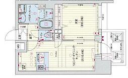 Osaka Metro谷町線 四天王寺前夕陽ヶ丘駅 徒歩5分の賃貸マンション 9階1LDKの間取り