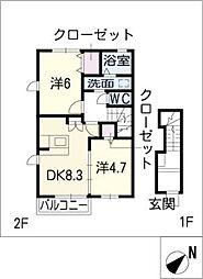 MO−V B棟[2階]の間取り