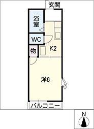 カーナK&K[1階]の間取り
