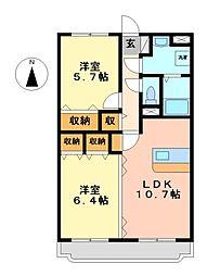 栃木県真岡市熊倉町の賃貸マンションの間取り