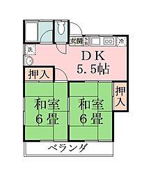 第二真壁コ−ポ[2階]の間取り