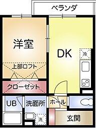 兵庫県神戸市須磨区大手町2丁目の賃貸アパートの間取り