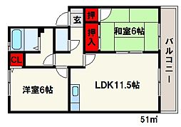 メゾン・ド・プリム[1階]の間取り