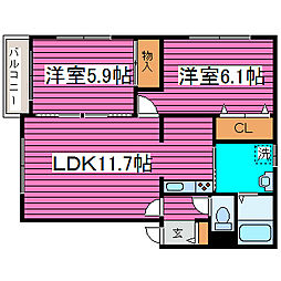 北海道札幌市東区中沼西二条1丁目の賃貸アパートの間取り