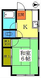 松栄荘[201号室]の間取り