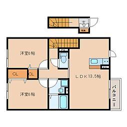奈良県香芝市すみれ野2丁目の賃貸アパートの間取り