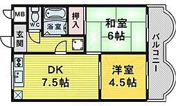 ハイツセブンアベニュー 2階2DKの間取り