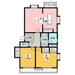 ウイング柴A棟[1階]の間取り