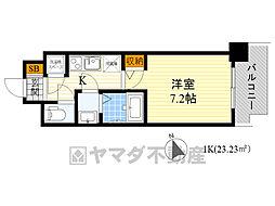 スペーシア江坂広芝町 4階1Kの間取り