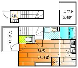 近鉄南大阪線 藤井寺駅 徒歩19分の賃貸アパート 2階ワンルームの間取り