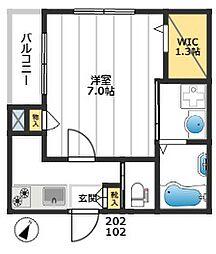 仮称)板橋区栄町メゾン 2階1Kの間取り
