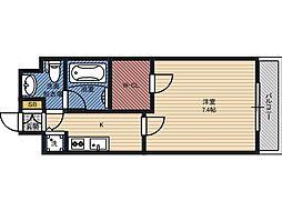 ティーズスクエア城東野江 8階1Kの間取り