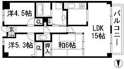 ルネ門戸 南棟[8階]の間取り