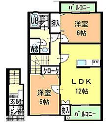 ハーブメゾン多田 A[202号室]の間取り