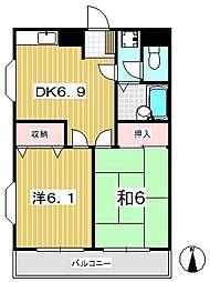 コーポ花水木[3階]の間取り