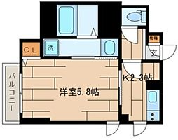 CLAIR COURT(クレールコート) 4階1Kの間取り