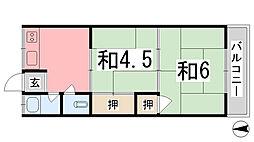 川畑ハイツ[102号室]の間取り