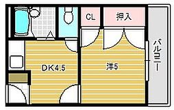 シンワハイツ[1階]の間取り