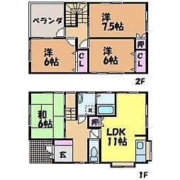 [一戸建] 愛媛県松山市上野町 の賃貸【/】の間取り