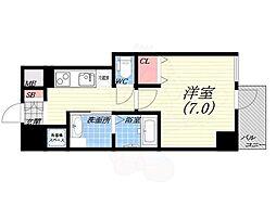 阪神本線 西宮駅 徒歩5分の賃貸マンション 6階1Kの間取り